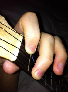 F and pull 3rd string with right thumb